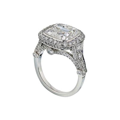 Tiffany Co TIFFANY CO LEGACY 5 CARAT CUSHION CUT DIAMOND E VS2 T CO CERTIFICATED RING