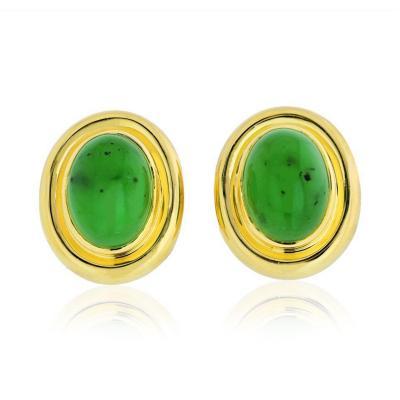 Tiffany Co TIFFANY CO PALOMA PICASSO 18K YELLOW GOLD DOME JADEITE JADE EARRINGS