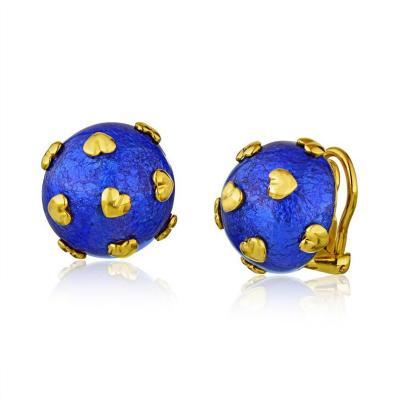 Tiffany Co TIFFANY CO PLATINUM 18K YELLOW GOLD BLUE ENAMEL HEART MOTIF EARRINGS