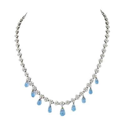 Tiffany Co TIFFANY CO PLATINUM DIAMOND AND AQUAMARINE LACE NECKLACE