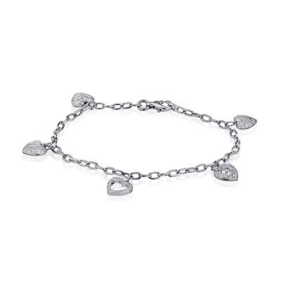 Tiffany Co TIFFANY CO PLATINUM DIAMOND HEART CHAIN CHARM BRACELET