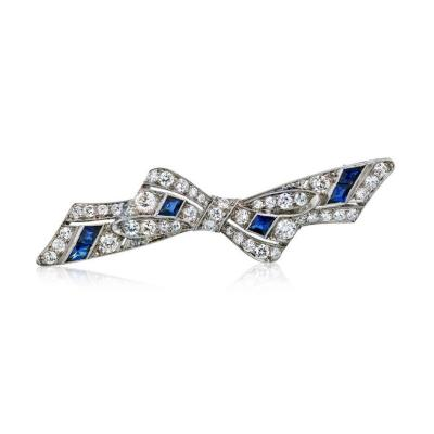 Tiffany Co TIFFANY CO PLATINUM SAPPHIRE DIAMOND BOW BROOCH