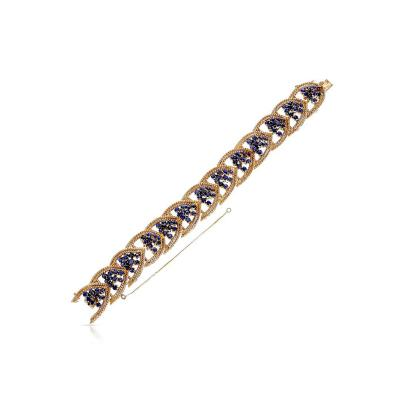 Tiffany Co TIFFANY CO SAPPHIRE AND WEAVED GOLD 7 BRACELET