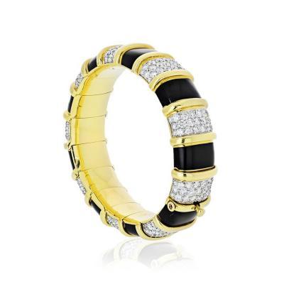Tiffany Co TIFFANY CO SCHLUMBERGER 18K YELLOW GOLD BLACK ENAMEL DIAMOND BRACELET