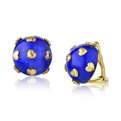 Tiffany Co TIFFANY CO SCHLUMBERGER 18K YELLOW GOLD BLUE ENAMEL HEART MOTIF EARRINGS