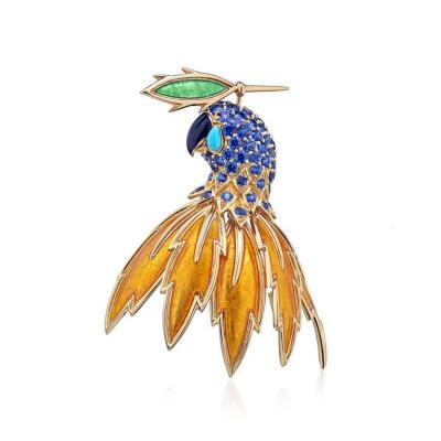 Tiffany Co TIFFANY CO SCHLUMBERGER 18K YELLOW GOLD MULTI COLOR PARROT BROOCH