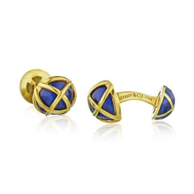 Tiffany Co TIFFANY CO SCHLUMBERGER PLATINUM 18K YELLOW GOLD BLUE ENAMEL CUFF LINKS
