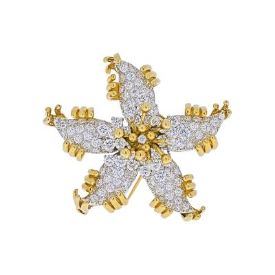 Tiffany Co TIFFANY CO SCHLUMBERGER PLATINUM 18K YELLOW GOLD STARFISH DIAMOND BROOCH