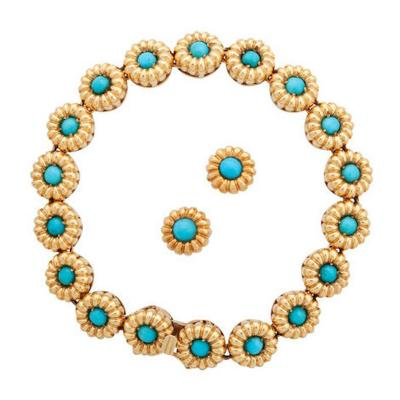 Tiffany Co TIFFANY CO TURQUOISE CABOCHON DAISY SET WITH BRACELET EARRINGS