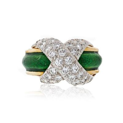 Tiffany Co TIFFANY CO X WITH GREEN ENAMEL PLATINUM AND 18K YELLOW GOLD DIAMOND RING