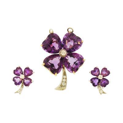 Tiffany Co Tiffany Co Amethyst Diamond Pin and Earring Set