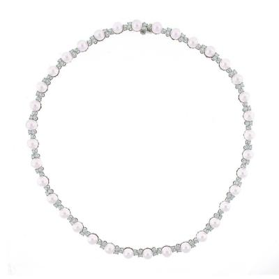Tiffany Co Tiffany Co Aria Pearl Diamond Platinum Necklace