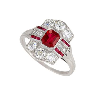 Tiffany Co Tiffany Co Art Deco Ruby Diamond and Platinum Ring