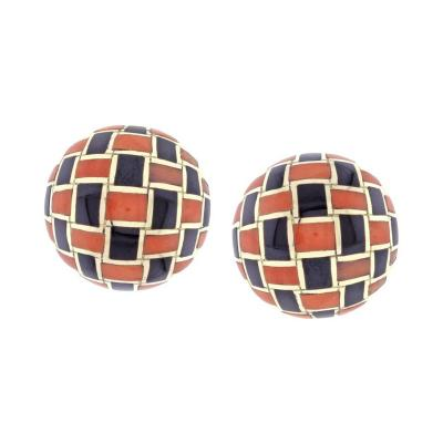 Tiffany Co Tiffany Co Coral and Onyx Checker Board Earrings