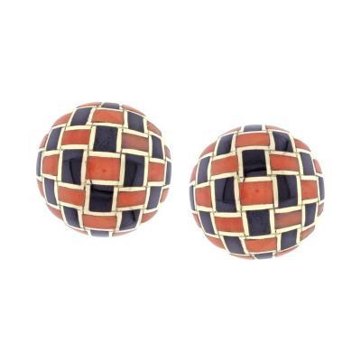 Tiffany Co Tiffany Co Coral and Onyx Checker Board Earrings