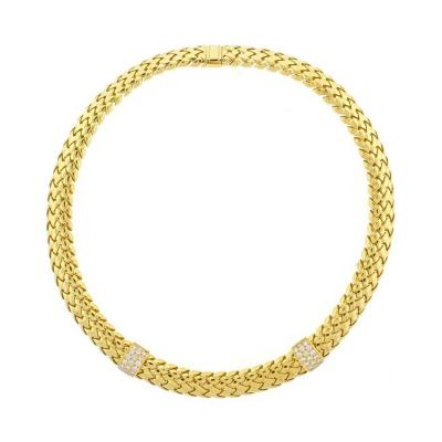 Tiffany Co Tiffany Co Diamond Yellow Gold Vannerie Necklace