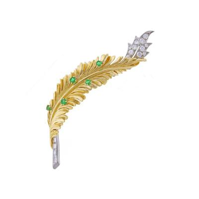 Tiffany Co Tiffany Co Emerald Diamond Gold Platinum Leaf Brooch