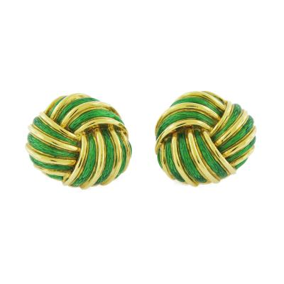 Tiffany Co Tiffany Co Enamel and Gold Knot Earrings