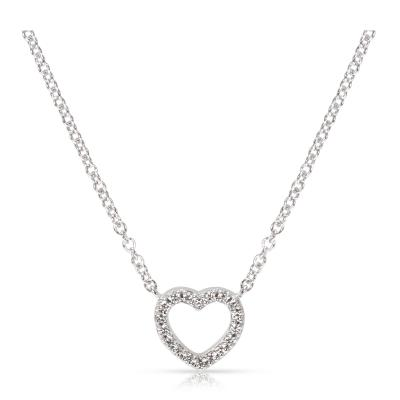 Tiffany Co Tiffany Co Metro Mini Diamond Heart Necklace in 18K White gold 0 05 ctw