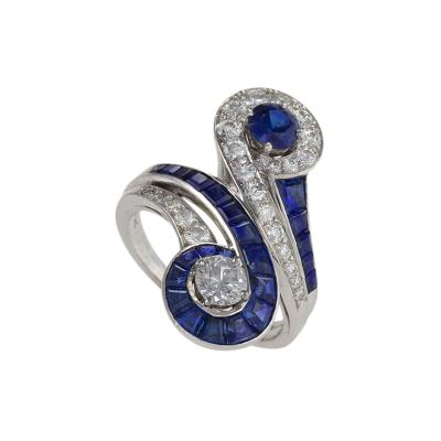 Tiffany Co Tiffany Co Mid 20th Century Diamond Sapphire and Platinum Moi et Toi Ring