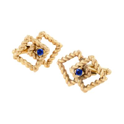 Tiffany Co Tiffany Co Mid 20th Century Sapphire and Gold Cuff Links