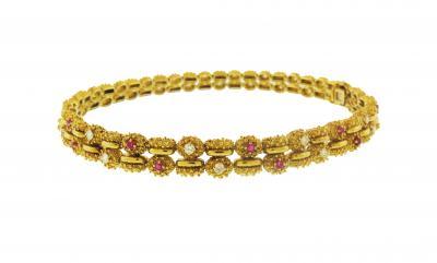 Tiffany Co Tiffany Co Mid Century Diamond and Ruby Link Bracelet