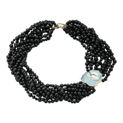 Tiffany Co Tiffany Co Multi Strand Onyx Beaded Necklace