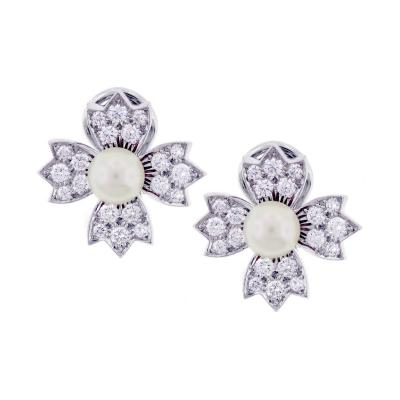 Tiffany Co Tiffany Co Pearl Diamond Platinum Flower Earrings