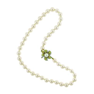 Tiffany Co Tiffany Co Pearl Necklace with Yellow and White Diamond Clasp