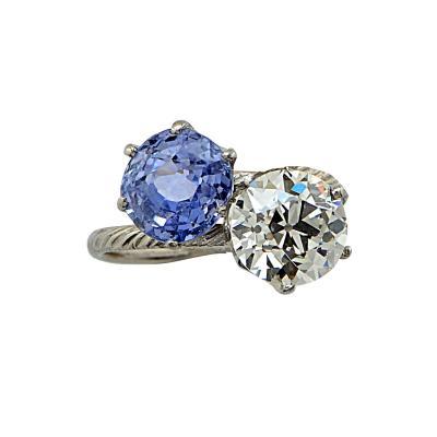 Tiffany Co Tiffany Co Platinum Diamond and Sapphire Bypass Ring V13218