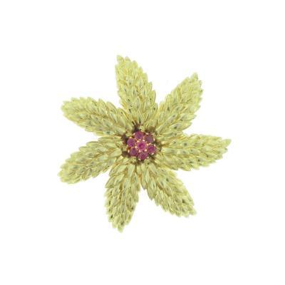 Tiffany Co Tiffany Co Ruby Gold Flower Brooch