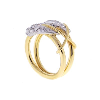 Tiffany Co Tiffany Co Schlumberger Diamond Yellow Gold Platinum Two Leaves Ring