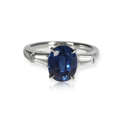 Tiffany Co Tiffany Co Three Stone Sapphire Diamond Ring in Platinum 0 50 CTW