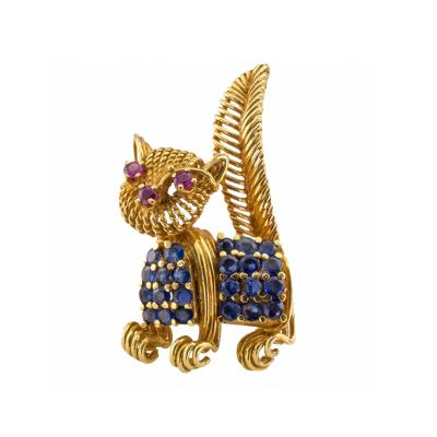 Tiffany Co Tiffany Co Whimsical Ruby and Sapphire Cat Brooch