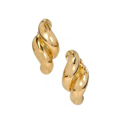 Tiffany Co Tiffany Co Yellow Gold Double Swirl Link Clip Post Earrings