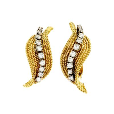 Tiffany Co Tiffany Company Diamond Yellow Gold Swirl Earrings