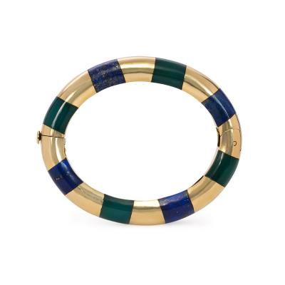Tiffany Co Tiffany Estate Gold Lapis and Green Onyx Bangle Bracelet