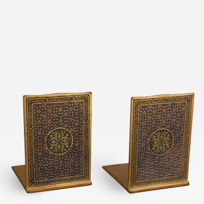 Tiffany and Co A Pair of Tiffany Gilt and Enamel Bookends in the Medallion Pattern 2028