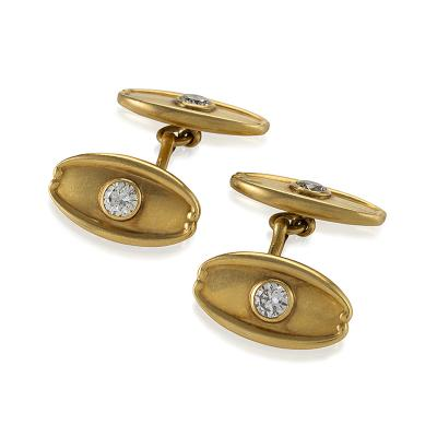 Tiffany and Co Antique Tiffany Co Diamond and Gold Cuff Links