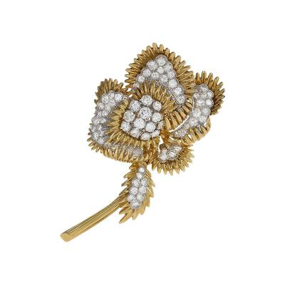 Tiffany and Co Gold and Platinum Brooch with Diamonds by Tiffany Co