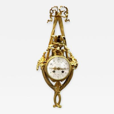 Tiffany and Co Louis XVI Style French Gilt Bronze Cartel Wall Clock Retailed by Tiffany and Co