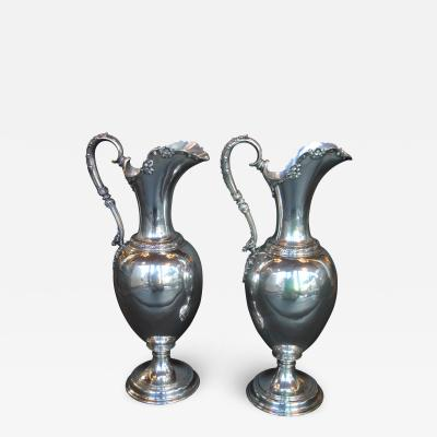 Tiffany and Co Pair of Oversized Sterling Silver Tiffany Co Pitchers