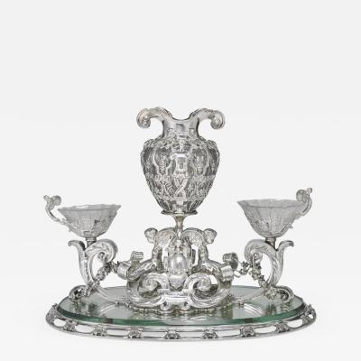 Tiffany and Co Paulding Farnham for Tiffany Co Silver Glass Renaissance Revival Centerpiece