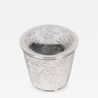 Tiffany and Co Round Lidded Container in Sterling Silver by Tiffany Co