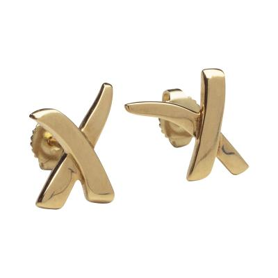 Tiffany and Co Tiffany Co 18kt Gold X earrings by Paloma Picasso