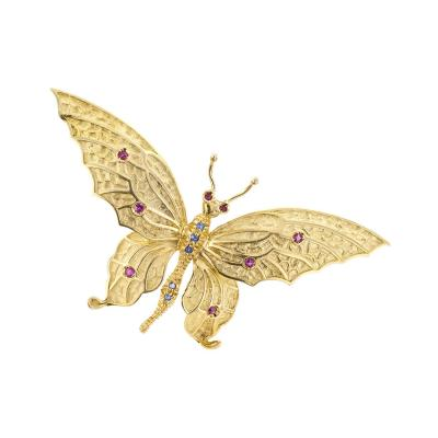 Tiffany and Co Tiffany Co 1960s Butterfly Brooch Ruby Sapphire Gold
