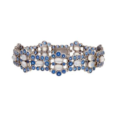 Tiffany and Co Tiffany Co Art Deco Moonstone Montana Sapphire and Platinum Bracelet
