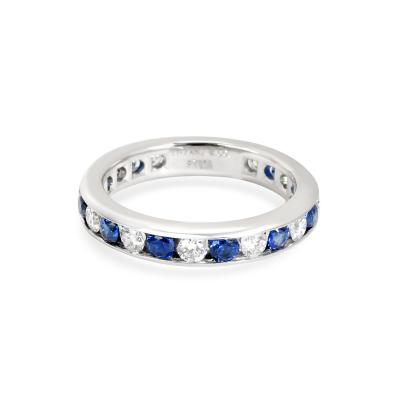 Tiffany and Co Tiffany Co Channel Set Diamond Sapphire Band in Platinum 0 6 CTW
