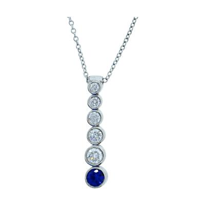 Tiffany and Co Tiffany Co Diamond and Sapphire Pendant Necklace