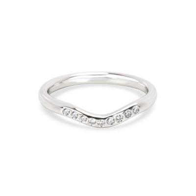 Tiffany and Co Tiffany Co Elsa Peretti Curved Diamond Wedding Band in Platinum 0 06 CTW